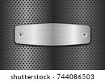 metal brushed plate on... | Shutterstock .eps vector #744086503