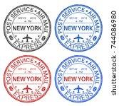 new york postmarks. set of... | Shutterstock .eps vector #744086980