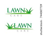 lawn care logo design template... | Shutterstock .eps vector #744087739