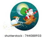 merry santa claus with a bag of ... | Shutterstock .eps vector #744088933