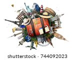 travel and tourism  world... | Shutterstock . vector #744092023