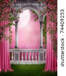 Pink Garden With Curtains And...