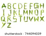 English alphabet A-Z is made of green leaves.