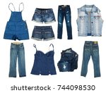 collection of jeans clothes on... | Shutterstock . vector #744098530