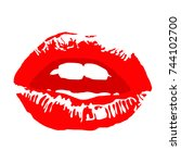 lips. red lipstick kiss with...   Shutterstock .eps vector #744102700