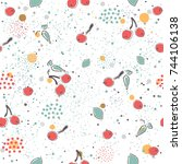 cute seamless pattern with... | Shutterstock .eps vector #744106138