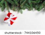 christmas handmade gift boxes  | Shutterstock . vector #744106450