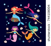 set of cute mermaids and... | Shutterstock .eps vector #744108004