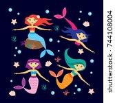 set of cute mermaids and... | Shutterstock .eps vector #744108004