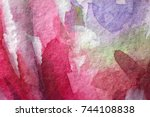 multicolored watercolor painted ... | Shutterstock . vector #744108838