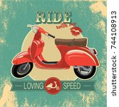 hipster vintage print with red... | Shutterstock .eps vector #744108913