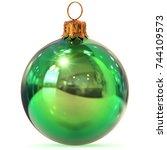 christmas ball closeup green... | Shutterstock . vector #744109573