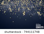 many falling golden confetti...   Shutterstock .eps vector #744111748