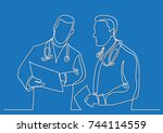 continuous line drawing of... | Shutterstock .eps vector #744114559