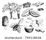 vector cocoa products hand... | Shutterstock .eps vector #744118636