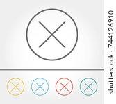 close button single icon vector ...   Shutterstock .eps vector #744126910