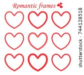 vector set of isolated romantic ... | Shutterstock .eps vector #744128518