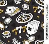 playing chips and cards... | Shutterstock .eps vector #744128860