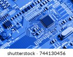 electronic circuit board close... | Shutterstock . vector #744130456