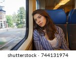 the young woman sadly looking... | Shutterstock . vector #744131974