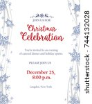 christmas party invitation with ... | Shutterstock .eps vector #744132028