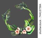 watercolor pink exotic flowers... | Shutterstock . vector #744137584