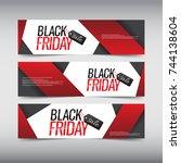 black friday sale design banner ... | Shutterstock .eps vector #744138604