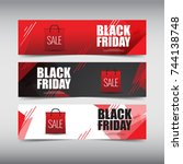 black friday sale design banner ... | Shutterstock .eps vector #744138748