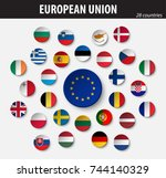 flags of european union and... | Shutterstock .eps vector #744140329