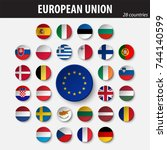 flags of european union and... | Shutterstock .eps vector #744140599