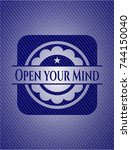 open your mind emblem with jean ... | Shutterstock .eps vector #744150040