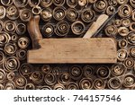 old wood planer and spiral wood ... | Shutterstock . vector #744157546