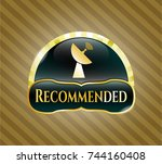 gold shiny badge with radar... | Shutterstock .eps vector #744160408