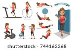 exercise woman health female... | Shutterstock .eps vector #744162268