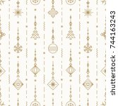 christmas pattern with new... | Shutterstock .eps vector #744163243
