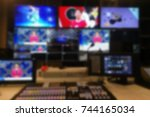 blur image video switch of... | Shutterstock . vector #744165034
