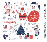 set of hand drawn christmas... | Shutterstock .eps vector #744165328