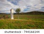 autumn scenery in  dobrichovice ... | Shutterstock . vector #744166144