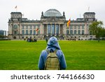young woman with backpack... | Shutterstock . vector #744166630