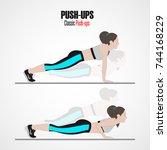 pushups. sport exercises. stage ... | Shutterstock . vector #744168229