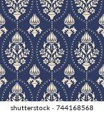 seamless damask wallpaper.... | Shutterstock .eps vector #744168568