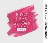 buy 2 get 1 free sale text over ... | Shutterstock .eps vector #744175150