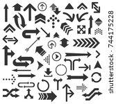 set of numerous black arrows... | Shutterstock .eps vector #744175228