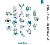 school and education icon set.... | Shutterstock .eps vector #744177886