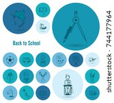 school and education icon set.... | Shutterstock .eps vector #744177964