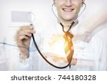disruption of healthcare with... | Shutterstock . vector #744180328