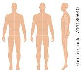 fashion body full length bald... | Shutterstock .eps vector #744180640