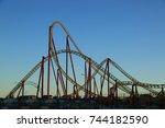 amusement roller coaster in... | Shutterstock . vector #744182590
