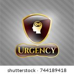 gold shiny badge with head... | Shutterstock .eps vector #744189418