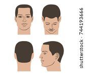 man hairstyle head set  front ... | Shutterstock .eps vector #744193666